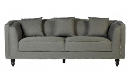 Freya 3 Seat Sofa Grey Fabric Eucalyptus Wood Feet
