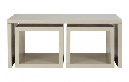 Madrid Coffee Table 2 Under Tables Light Grey High Gloss Finish