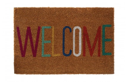 Welcome Doormat Coir/PVC Backed Natural/Multi-Colour