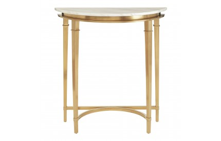 Vari Console Table White Marble / Gold Frame Half Moon