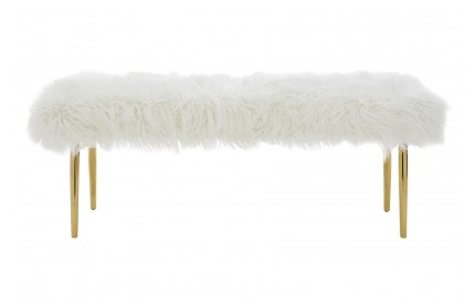 Mystique Bench Natural Fur Effect Gold Stainless Steel
