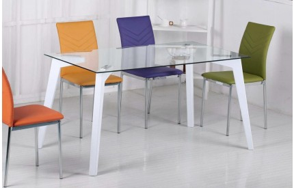 Avenso Glass Dining Table High Gloss White