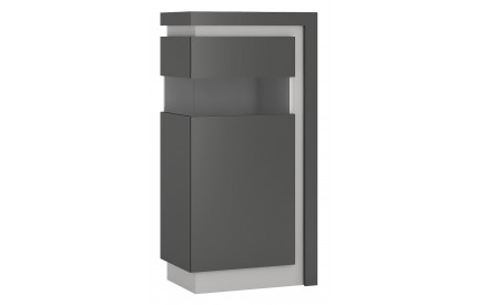 Lyon Narrow Display Cabinet 120cm Grey Gloss (LH)