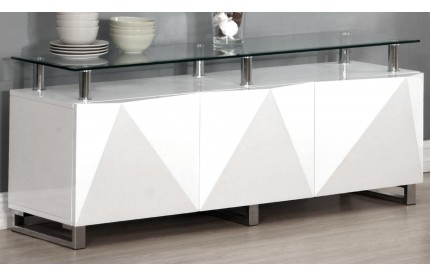 Regis White High Gloss Sideboard 3 Doors