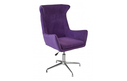 Colonial Chair Purple Microfibre Revolving Chrome Finish Base