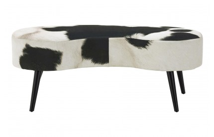 Ringo Bench Cowhide Print Black and White