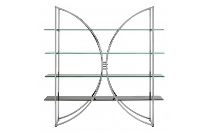 Pose Shelf Unit 4 Tiers Stainless Steel / Tempered Glass