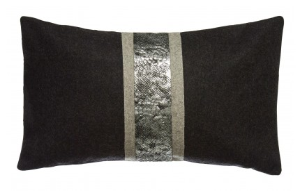 Buckingham Townhouse Cushion Snake Skin Effect / Felt Black Wool Mix