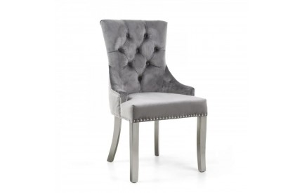 Chester Brushed Velvet Grey Accent Chair