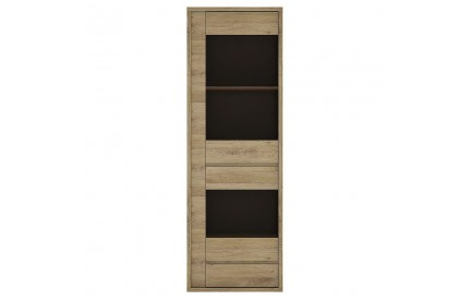 Shetland 1 Door 1 Drawer Narrow Glazed Display Cabinet