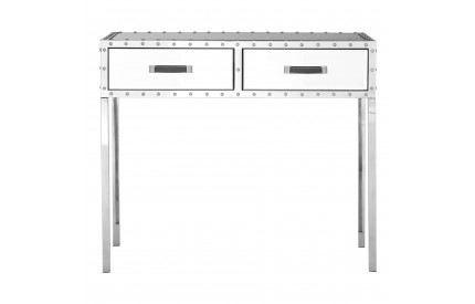 Rivet Console Table Stainless Steel / Mirrored Glass 2 Drawers