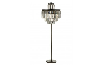Art Deco Floor Lamp Iron/Crystal