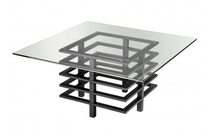 Monaco Coffee Table Clear Tempered Glass Black Powder Coated Metal Frame