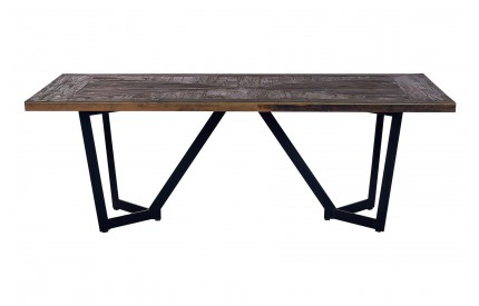 Midas Dining Table Elm Wood Top Iron Legs
