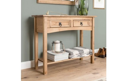 Corona Mexican Pine Console Table 2 Drawer Shelf