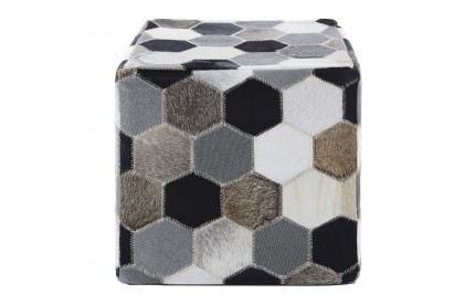 Lauren Pouffe Genuine Cowhide Leather Black / White / Grey Patchwork
