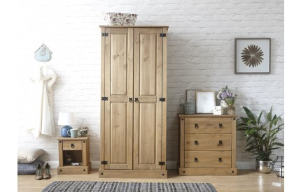 Solid Pine Trio Wardrobe, Chest & Bedside