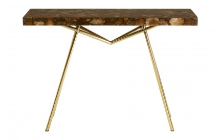 Newcity Console Table Agate Stone Iron Brass Finish