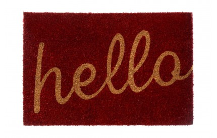 Hello Doormat Coir/PVC Backed Red/Natural