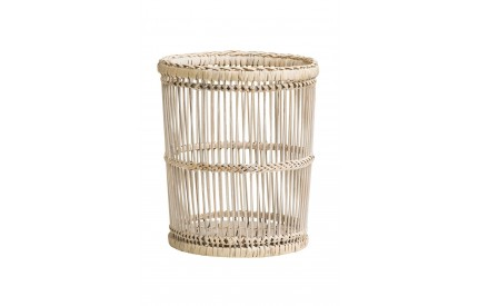 Waste Bin Rattan/Bamboo Rustic White Washed