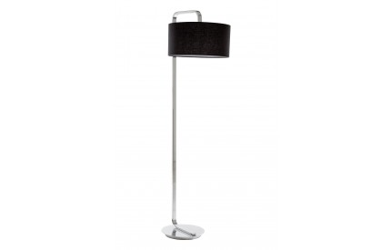 Leyna Floor Lamp Chrome Base Black Fabric Shade / UK Plug