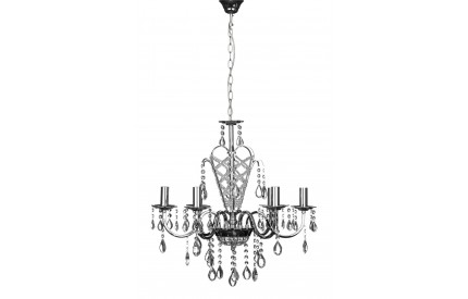 Carrington Chandelier Chrome Iron Frame/Crystal 6 Arm