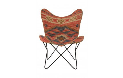 Buffalo Butterfly Chair Multi Coloured Aztec Iron Frame