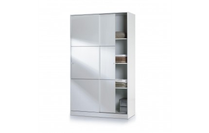 Pacific Sliding Wardrobe 4 Foot Shelves High Shine White