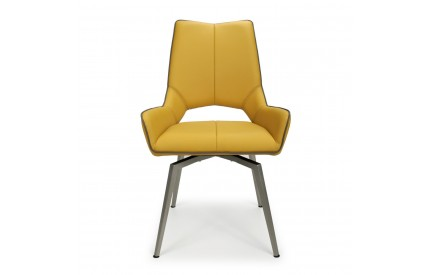 Mako Swivel Self Returning Leather Match Yellow Dining Chair