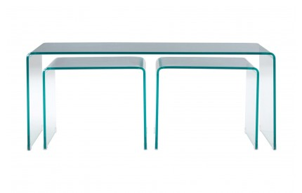Matrix Coffee Table Clear Bent Glass Long John / Nest of 3