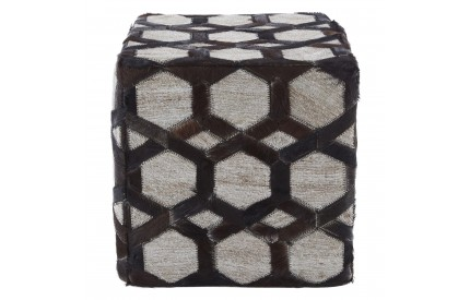 Lauren Pouffe Genuine Cowhide Leather Grey Patchwork