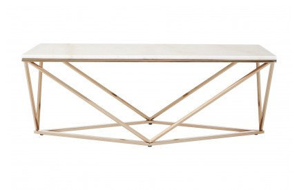 Premium Rectangular Coffee Table White Faux Marble Champagne Gold