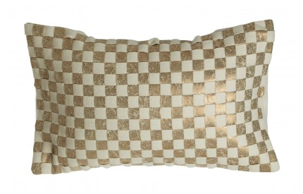 Buckingham Townhouse Cushion Cream/Gold Checkerboard Design Wool Mix