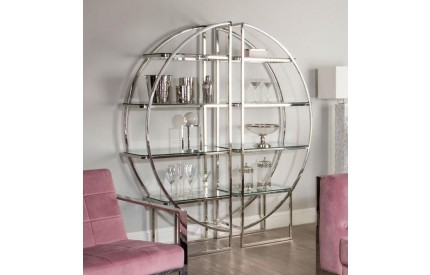 Pose 4 Tier Shelf Unit Half Moon Clear Glass / Stainless Steel