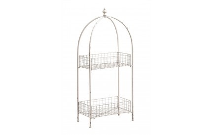 New York Loft 2 Tier Stand Distressed White Metal
