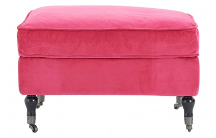 Plush Footstool Pink Cotton Velvet Birchwood Legs With Wheels