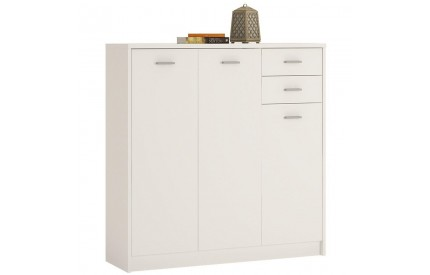 4 You Tall 3 Door 2 Drawer Cupboard in Pearl White