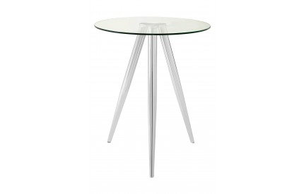 Barton Round Bar Table Chrome Legs Clear Tempered Glass
