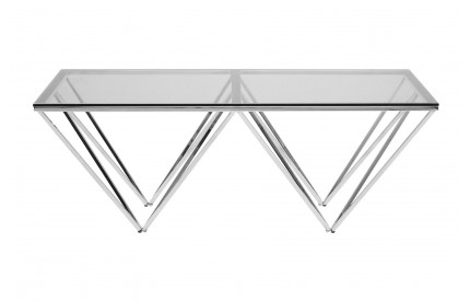 Premium Rectangular Coffee Table Tempered Glass Chrome