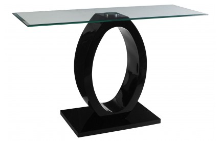Grate Console Table Tempered Glass O Shaped MDF Black Base