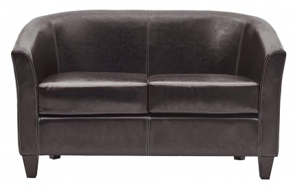 Curved Leather 2 Seater Sofa Brown