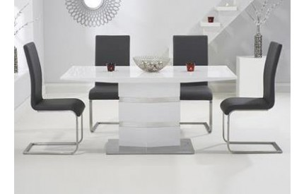 Dalo Dining Table White Stainless Steel Base