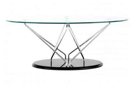 Halo Oval Coffee Table Tempered Glass Cross Chrome & Black Base