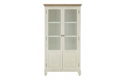 Hendra Distressed White Glass Display Cabinet