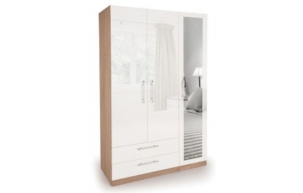 Moore High Gloss 3 Door 2 Wide Drawer Wardrobe
