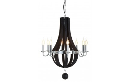 Buckingham Townhouse Chandelier Chrome/Antique Black Wood 8 Bulbs
