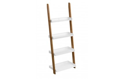 Nostra Shelf Ladder Unit White High Gloss 4 Tier Bamboo Frame
