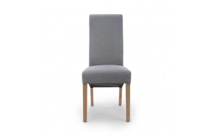 Baxter Wave Back Linen Effect Silver Grey Dining Chair