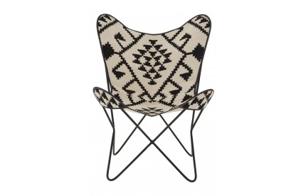 Bullworth Butterfly Chair Black / White Aztec / Iron Frame