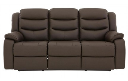 Kirk Recliner Leather 3 Seater Dark Choc